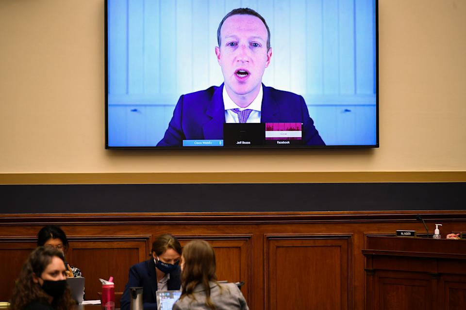 Facebook CEO Mark Zuckerberg testifies before the House Judiciary Subcommittee on Antitrust, Commercial and Administrative Law on ?Online Platforms and Market Power? in the Rayburn House office Building on Capitol Hill, in Washington, U.S., July 29, 2020. Mandel Ngan/Pool via REUTERS