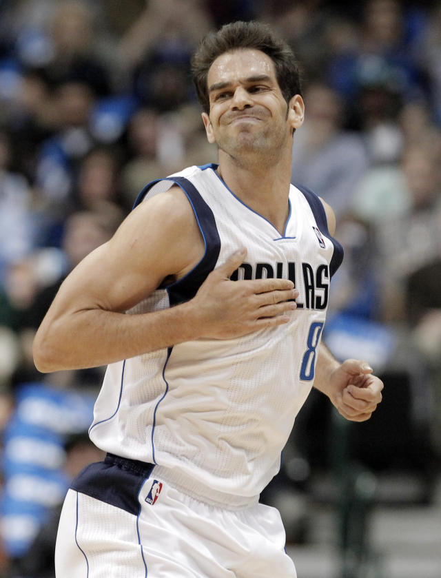 Dallas Mavericks' Jose Calderon (8) celebrates after scoring against the New Orleans Pelicans during the first half of an NBA basketball game on Wednesday, Feb. 26, 2014, in Dallas. (AP Photo/Brandon Wade)