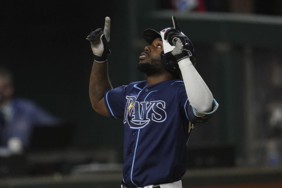 Tampa Bay Rays' Randy Arozarena celebrates after a home run against the Los Angeles Dodgers during the fourth inning in Game 4 of the baseball World Series Saturday, Oct. 24, 2020, in Arlington, Texas. (AP Photo/Eric Gay)