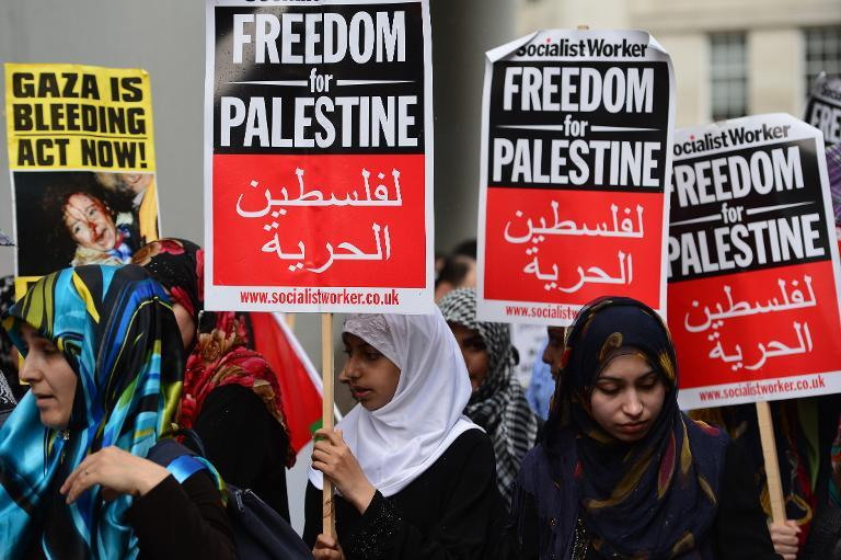 Protesters in central London on July 25, 2014 demonstrate against Israeli actions in Gaza