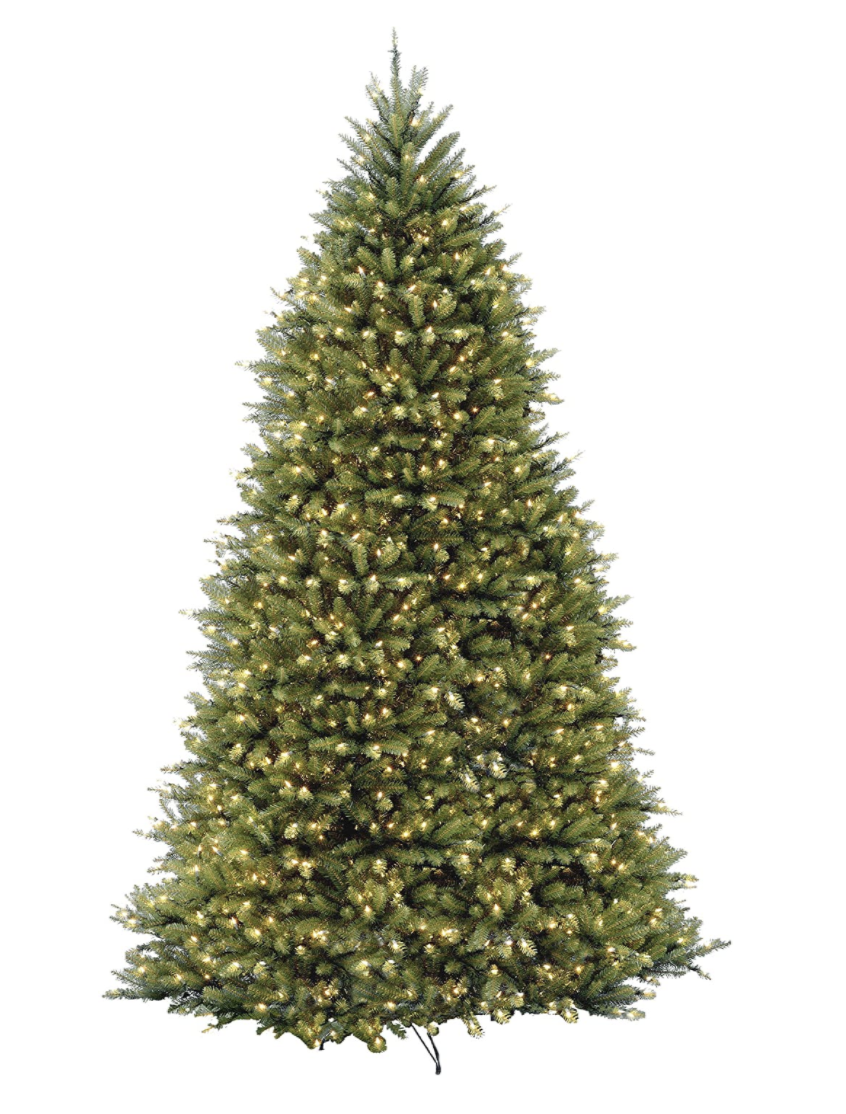 """<p><strong>National Tree Company</strong></p><p>amazon.com</p><p><strong>$519.99</strong></p><p><a href=""""https://www.amazon.com/dp/B009LAJQVY?tag=syn-yahoo-20&ascsubtag=%5Bartid%7C10057.g.4010%5Bsrc%7Cyahoo-us"""" rel=""""nofollow noopener"""" target=""""_blank"""" data-ylk=""""slk:BUY NOW"""" class=""""link rapid-noclick-resp"""">BUY NOW</a></p><p>This realistic faux tree stands 10 feet tall and would look stunning in any room with a high ceiling. Bonus: It comes pre-lit, so you don't have to mess with tangled Christmas lights.</p>"""