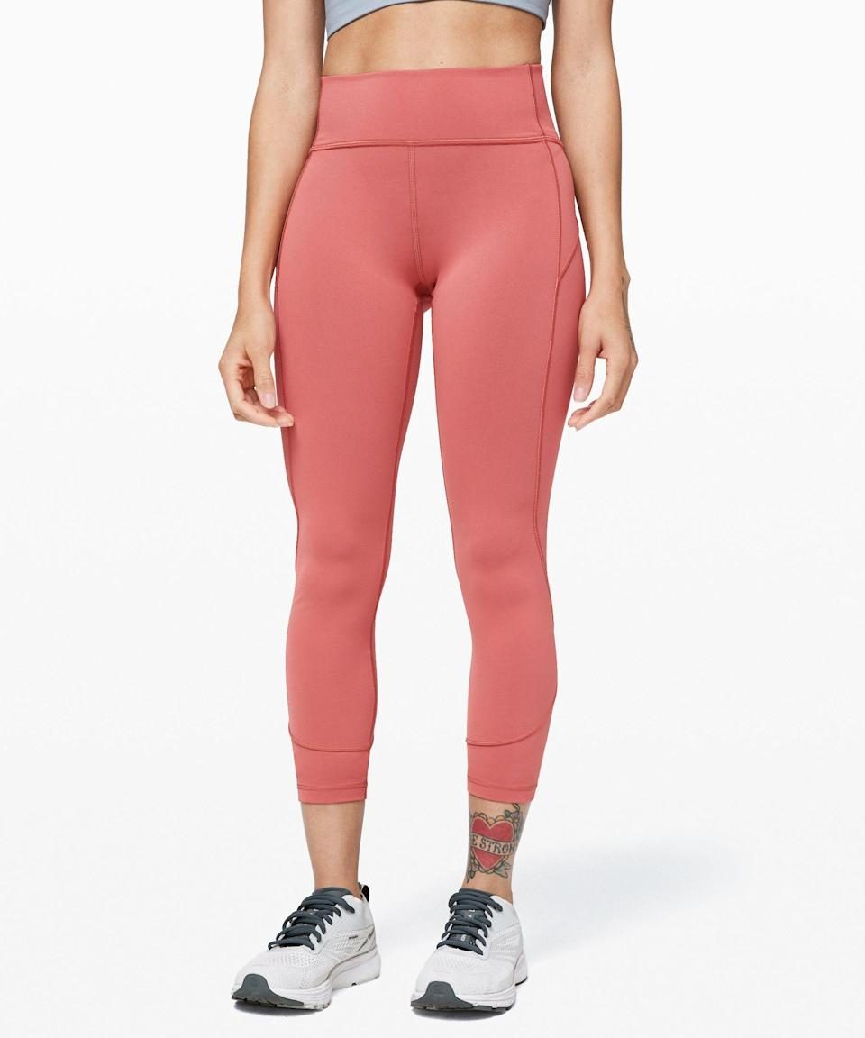 """<p><strong>Lululemon</strong></p><p>lululemon.com</p><p><a href=""""https://go.redirectingat.com?id=74968X1596630&url=https%3A%2F%2Fshop.lululemon.com%2Fp%2Fwomen-pants%2FIn-Movement-78-Tight-MD%2F_%2Fprod8850056&sref=https%3A%2F%2Fwww.marieclaire.com%2Ffashion%2Fg33262976%2Flululemon-warehouse-sale-july-2020%2F"""" rel=""""nofollow noopener"""" target=""""_blank"""" data-ylk=""""slk:SHOP IT"""" class=""""link rapid-noclick-resp"""">SHOP IT </a></p><p><del>$98</del><strong><br>$59—$69</strong></p><p>If you want to bring that cooling technology to the bottom half of your body, check out Lululemon's In Movement tights. This breathable pair wicks away moisture and dries quickly. Bring it on, heat wave. </p>"""