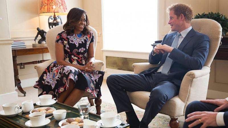 First Lady Michelle Obama Meets With Prince Harry Over Tea During European Tour
