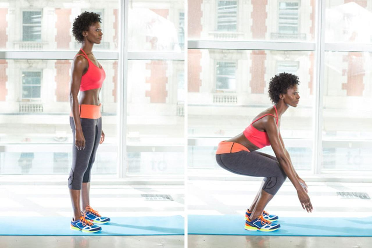 <p>Begin with one minute of squats: Stand with feet hip-width apart; bend knees 90 degrees, pushing your butt back. Stand and repeat, for 60 seconds.</p> <p>This is a great move if you typically spend your day sitting at a desk. It not only targets, your glutes and hamstrings, but it also gives you a good hip stretch, helping to boost mobility. </p>