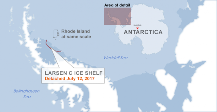 An iceberg nearly twice the size of Rhode Island breaks off Antarctica. (Project Midas /Reuters/Yahoo News)