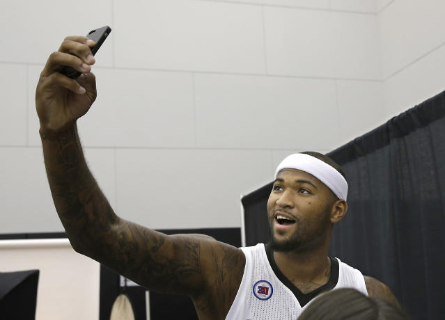 DeMarcus Cousins takes a selfie during the Kings media day in Sacramento, Calif. (AP/Rich Pedroncelli)