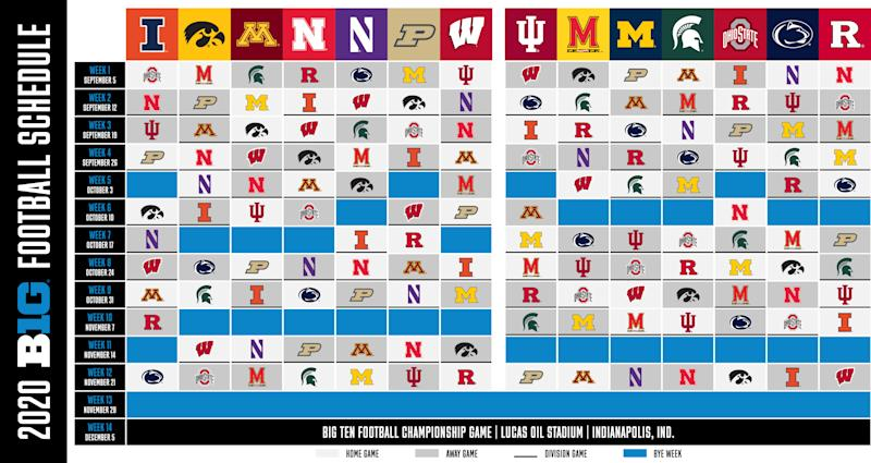 Here is the 2020 Big Ten football schedule. (Obtained by Yahoo Sports)