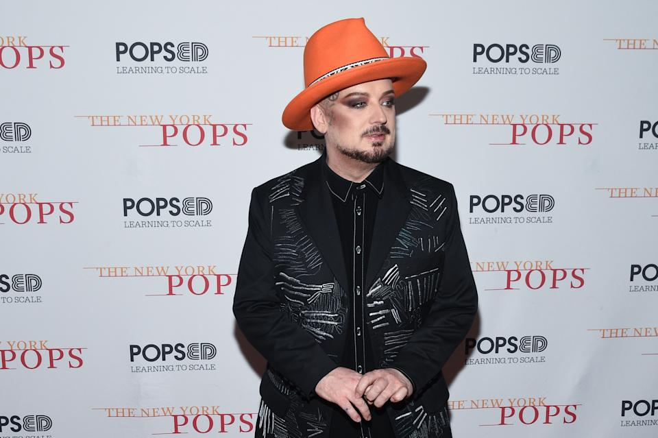 Boy George attends the 2019 New York Pops Gala Honoring Cyndi Lauper at Carnegie Hall on April 29, 2019 in New York City. (Photo by Mark Sagliocco/Getty Images)