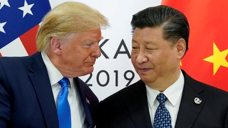 Donald Trump and Xi Jinping pictured during a G20 meeting in Osaka, Japan