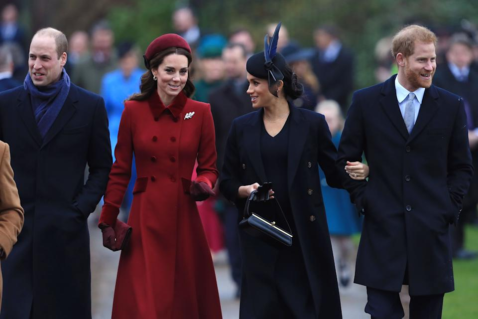 The Duke and Duchess of Cambridge, together with the Duke and Duchess of Sussex arrive to attend the 2018 Christmas Day Church service at Sandringham. [Photo: Getty]