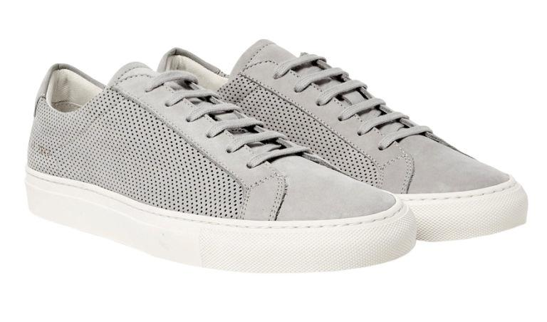 "<p><strong>Achilles Perforated Nubuck Sneakers</strong><span><strong></strong></span></p><p>If you're committed to wearing leather sneakers, even during the dog days, try this perforated pair of nubuck Achilles from Common Projects. </p><p><em>$450, <a rel=""nofollow"" href=""https://www.mrporter.com/en-us/mens/common_projects/achilles-perforated-nubuck-sneakers/819762#"">mrporter.com</a></em></p>"
