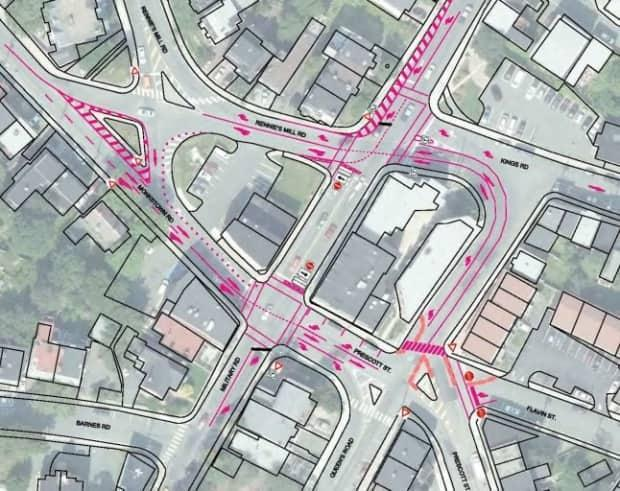 This diagram shows the early proposal for the traffic circle pilot project at Rawlins Cross. In May, the traffic light format was restored.