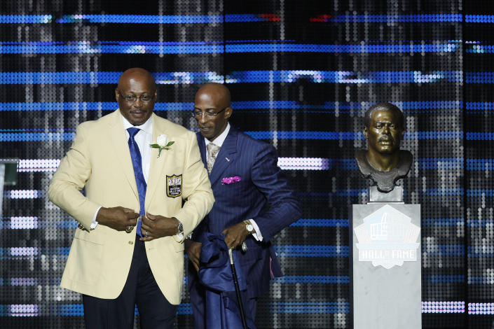 Floyd Little was inducted into the Pro Football Hall of Fame after a lengthy wait. (Photo by Joe Robbins/Getty Images)