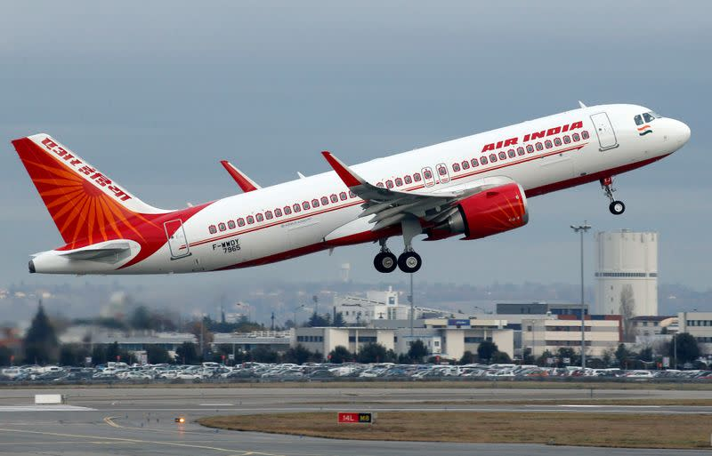 An Air India Airbus A320neo plane takes off in Colomiers near Toulouse