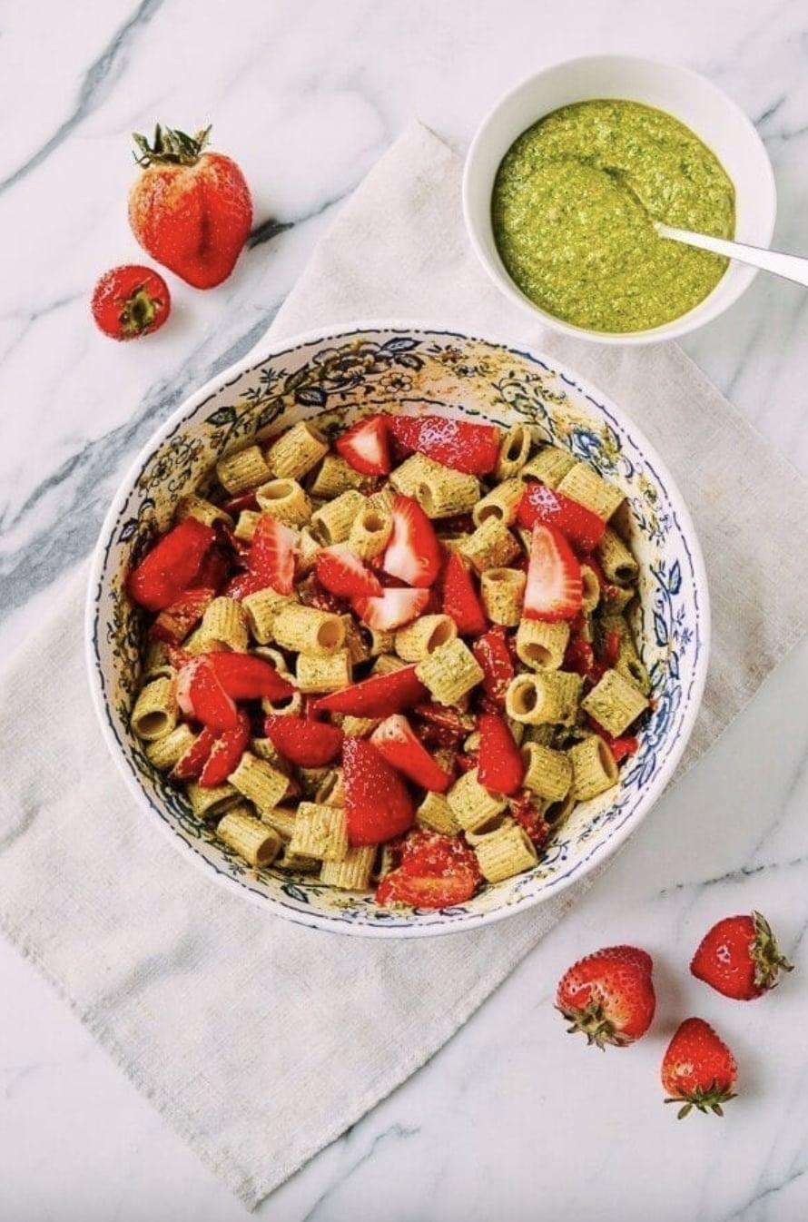 """<p>Basil and mint are already a dynamic duo, and when you pair these two ingredients with strawberries, it's even better. This pasta features a rich pesto base that ties together all the flavors with ease so enjoy! To feed two people, just toggle the bar where it says """"Serves,"""" and lower it to two.</p> <p><strong>Get the recipe:</strong> <a href=""""https://thewoksoflife.com/basil-mint-pesto-pasta-tomatoes-strawberries/#wprm-recipe-container-27658"""" class=""""link rapid-noclick-resp"""" rel=""""nofollow noopener"""" target=""""_blank"""" data-ylk=""""slk:basil mint pesto pasta salad"""">basil mint pesto pasta salad</a></p>"""