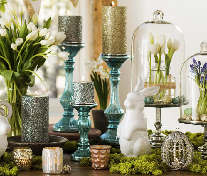 This undated publicity photo provided by Pottery Barn shows Blue Mercury glass that brings in one of the iconic pastel hues of the Easter season in a fresh new way (www.potterybarn.com). (AP Photo/Pottery Barn, Reed Davis Daniel Hebert)