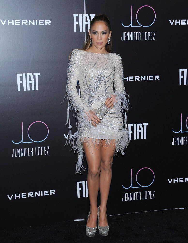 Jennifer Lopez dazzles in this short silver number.
