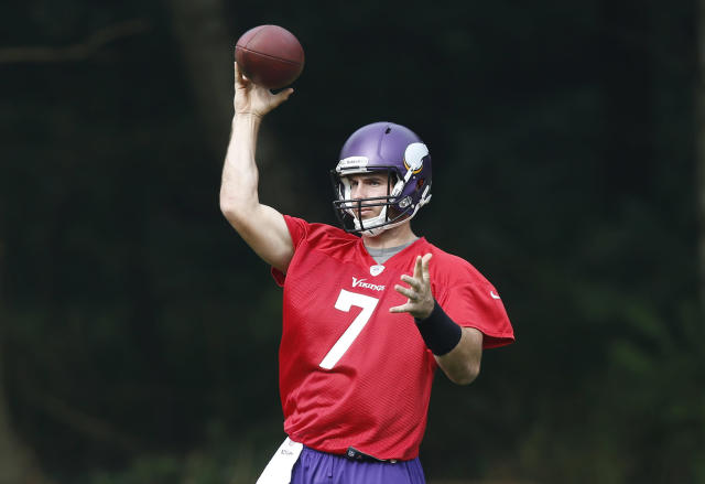 Minnesota Vikings' quarterback Christian Ponder throws the ball during their football practice at the Grove Hotel in Watford, England, Wednesday, Sept. 25, 2013. Vikings play Pittsburgh Steelers on Sunday in a NFL football game at Wembley Stadium in London. (AP Photo/Sang Tan)