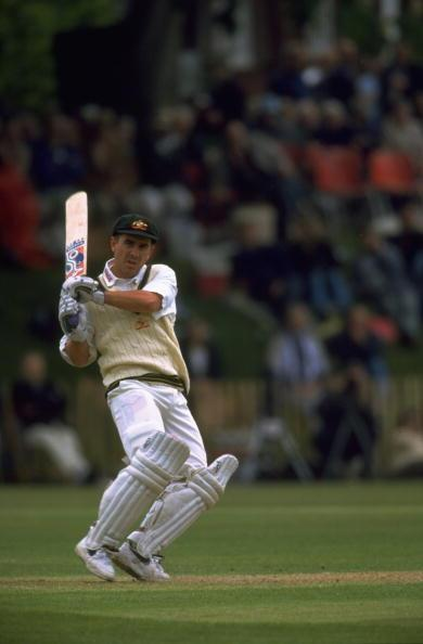 15 May 1997:  Justin Langer of Australia batting during the first match of the Ashes 1997 tour against the Duke of Norfolk XI1 at Arundel in Sussex, England. \ Mandatory Credit: Ben Radford /Allsport