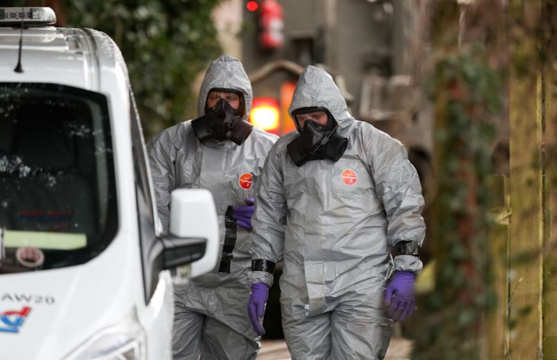 Investigators in protective clothing in Salisbury (Picture: PA)