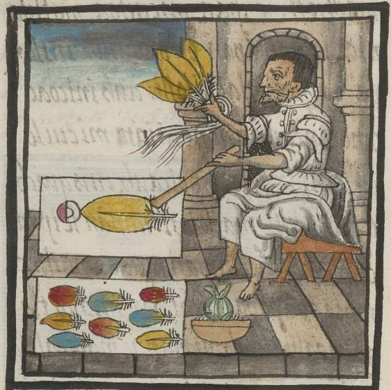 A detail from the Florentine Codex shows a worker preparing bird feathers for a mosaic