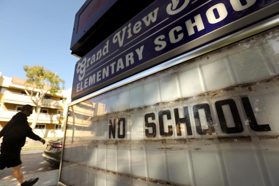 Los Angeles campuses will not reopen for classes on Aug. 18, and the nation's second-largest school system will continue with online learning until further notice. (Genaro Molina/Los Angeles Times via Getty Images)