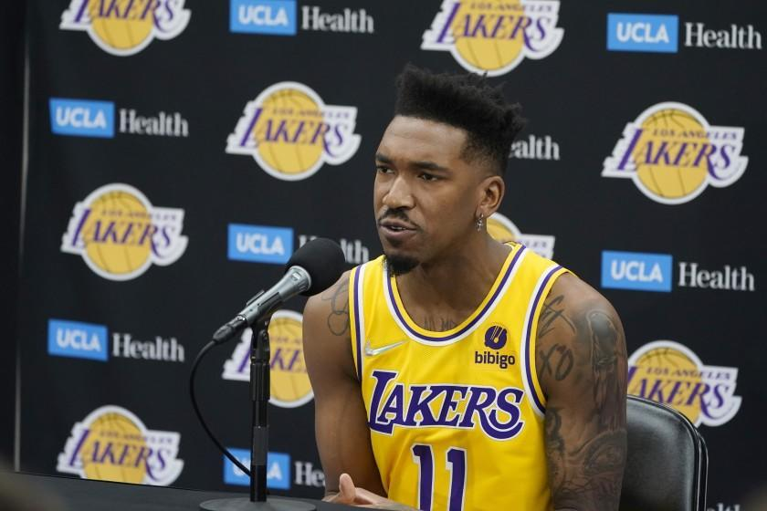 Los Angeles Lakers guard Malik Monk answers questions during the NBA basketball team.