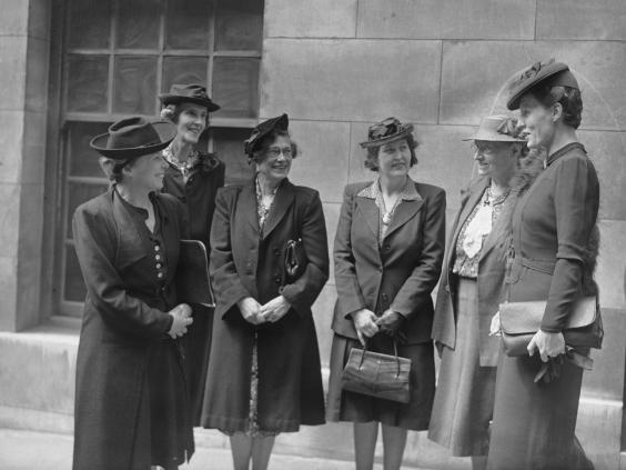 Female British Labour MPs after a meeting at Beaver Hall in Mansion House, London, 28th July 1945. (Photo by Keystone/Hulton Archive/Getty Images)
