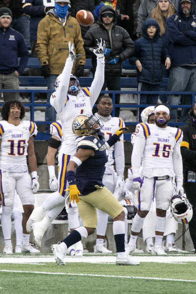 Albany receiver Juwan Green catches the ball over Montana State's Tyrel Thomas, and scores a touchdown during a second-round game in the NCAA Football Championship Subdivision playoffs Saturday, Dec. 7, 2019, in Bozeman, Mont. (Ryan Berry/Bozeman Daily Chronicle via AP)