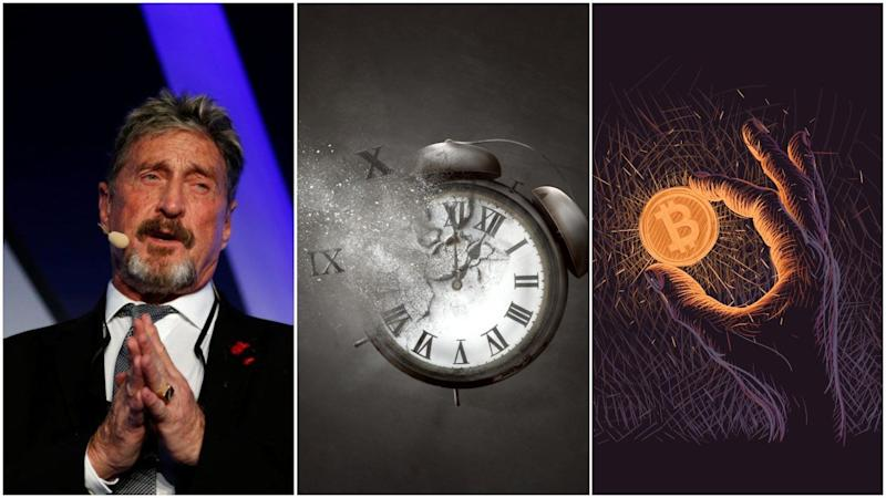 John McAfee says you're stupid if you don't believe the bitcoin price hits $1 million in 2020. His proof: a crypto time traveler who has 'never been wrong.' | Source: REUTERS/Darrin Zammit Lupi (i), Shutterstock (ii, iii). Image Edited by CCN.
