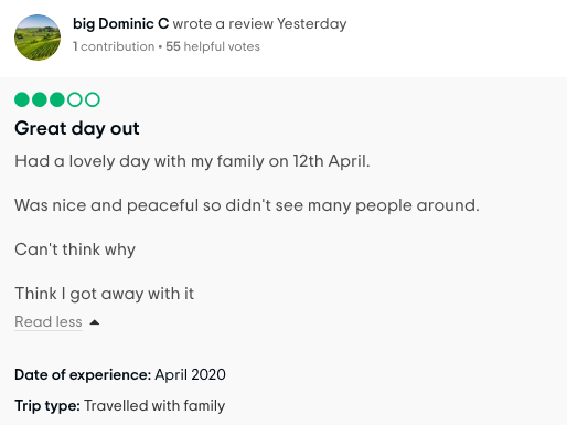 Spoof review of April trip to Barnard Castle left on Tripadvisor (Tripadvisor)