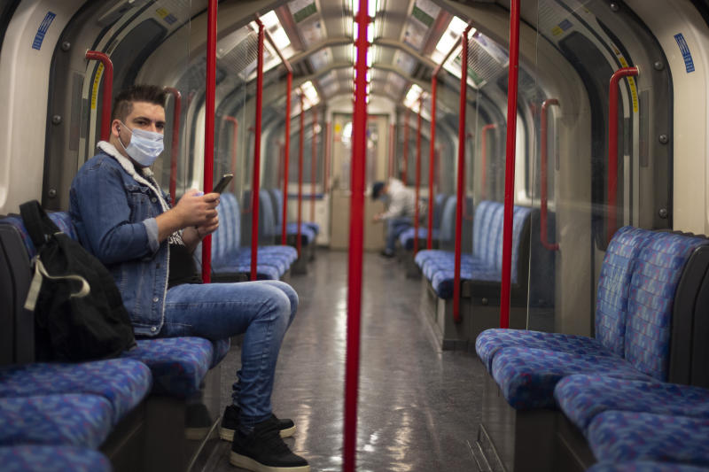 A passenger wearing a face mask on the Central Line in central London during what would normally be the morning rush hour. (Photo by Victoria Jones/PA Images via Getty Images)