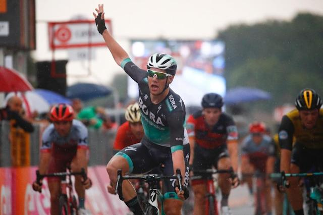 Sam Bennett is celebrating a second victory on the Giro d'Italia this year (AFP Photo/Luk Benies)