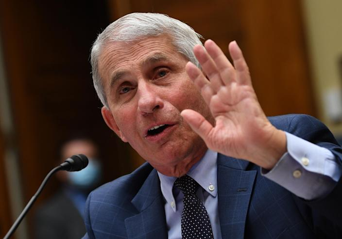 Dr. Anthony Fauci, director of the National Institute for Allergy and Infectious Diseases, has warned against reopening schools without proper protection. (Kevin Dietsch/Getty Images)