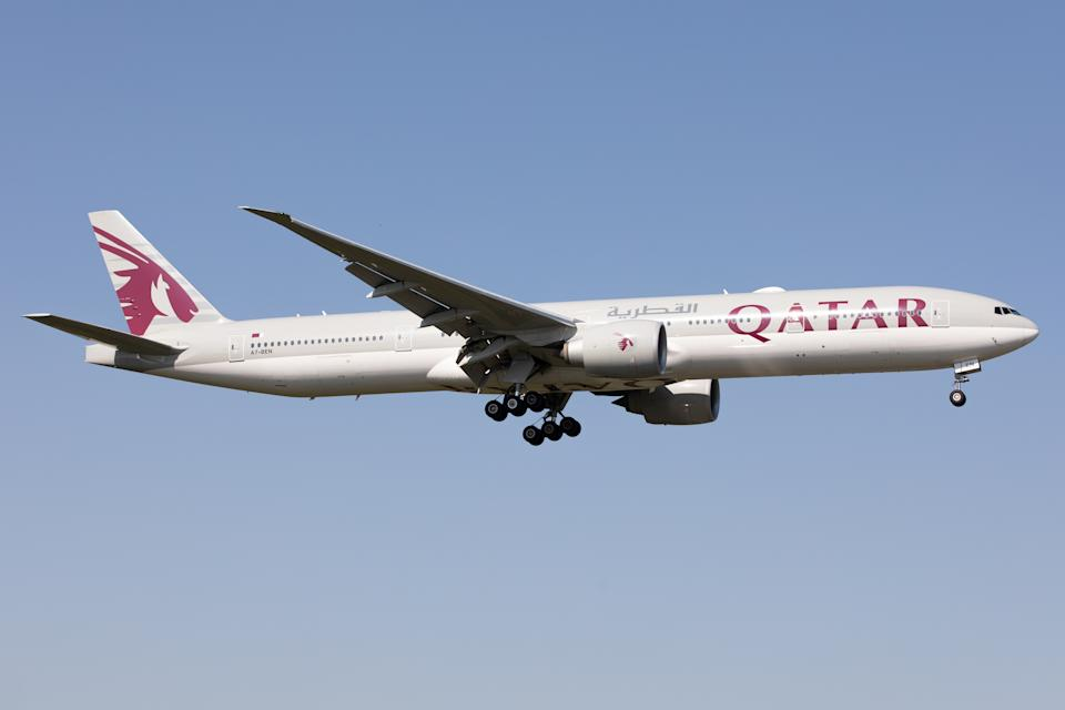 A Qatar Airways Boeing 777 lands at London Heathrow Airport, England on Monday 14th September 2020.  (Photo by Robert Smith/MI News/NurPhoto via Getty Images)
