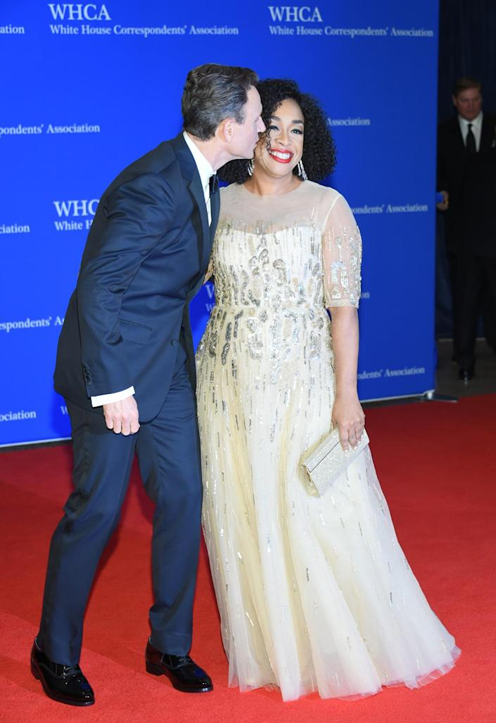 <p>Tony Goldwyn and Shonda Rhimes arrive at the White House Correspondents' Dinner, April 30. <i>(Photo: Evan Agostini/Invision/AP)</i></p>