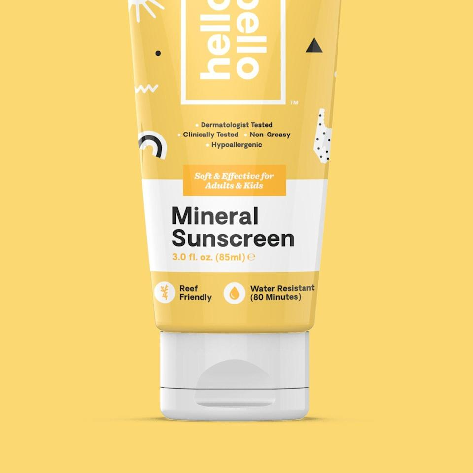 """<p><strong>hello bello </strong></p><p>hellobello.com</p><p><strong>$9.78</strong></p><p><a href=""""https://hellobello.com/products/sunscreen-mineral-lotion"""" rel=""""nofollow noopener"""" target=""""_blank"""" data-ylk=""""slk:Shop Now"""" class=""""link rapid-noclick-resp"""">Shop Now</a></p><p>SPF 50 non-nano zinc that is reef friendly, water resistant, non-greasy, hypoallerginic, and we can stress this enough, created by power couple Kristen Bell and Dax Shepard. </p>"""