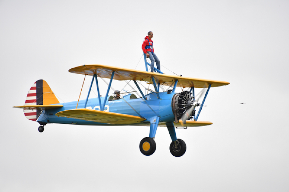 Peter McCleave completing a wing walk (Theo Wood/DKMS/PA)