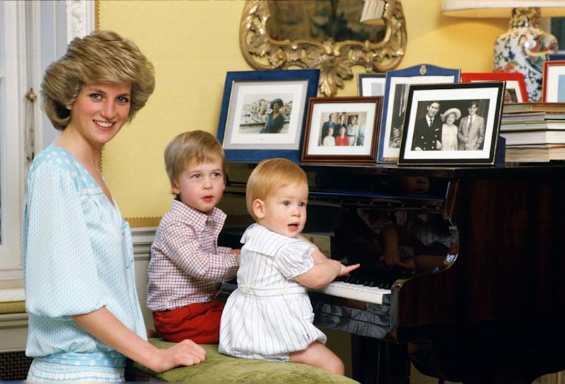 Princess Diana with a young Prince William and baby Prince Harry