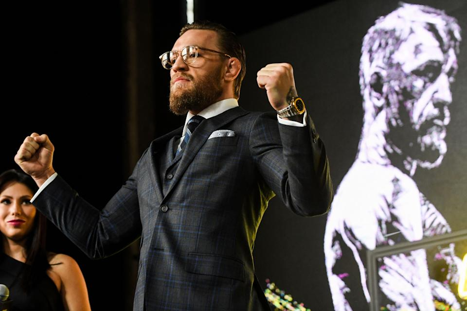 Mixed martial arts star Conor McGregor of Ireland attends a media briefing in central Moscow on October 24, 2019 to announce his next MMA combat schedule on January 18, 2020 in Las-Vegas. (Photo by Kirill KUDRYAVTSEV / AFP) (Photo by KIRILL KUDRYAVTSEV/AFP via Getty Images)