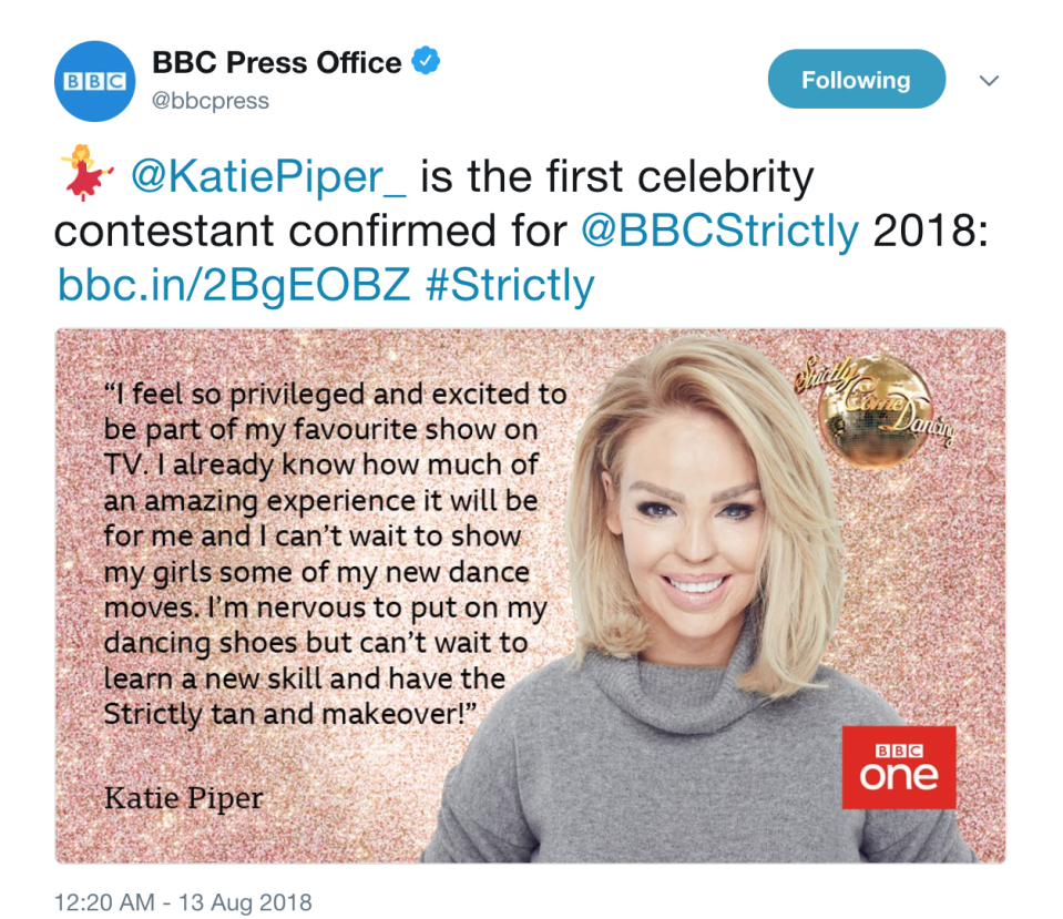 Katie Piper announced as first Strictly contestant via BBC Press Office's Twitter.
