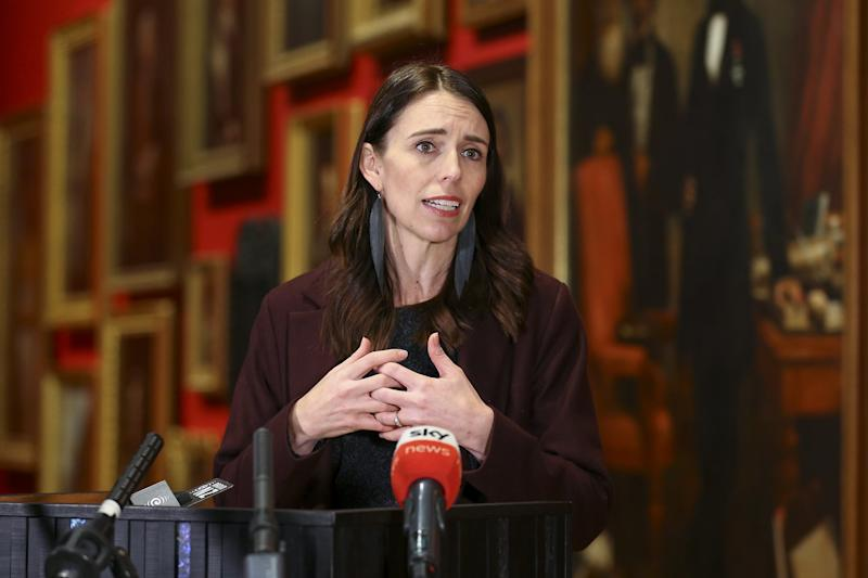 WELLINGTON, NEW ZEALAND - MAY 28: Prime Minister Jacinda Ardern speaks to media during a press conference at the Museum of New Zealand, Te Papa, on May 28, 2020 in Wellington, New Zealand. Prime Minister Jacinda Ardern announced a $95 million recovery package for New Zealand's museums and cultural trusts due to the impact of the coronavirus related recession. $25m will go to the national arts development agency, Creative New Zealand and $18m will go to Te Papa to continue operating. Heritage New Zealand will receive $11.3m, and the Antarctic Heritage Trust will receive $1.4m. Te Papa Museum was closed on 20 March 2020 in response to the COVID-19 pandemic and subsequent government restrictions imposed to stop the spread of coronavirus in New Zealand. The 68-day closure was the longest in the museum's history. (Photo by Hagen Hopkins/Getty Images)