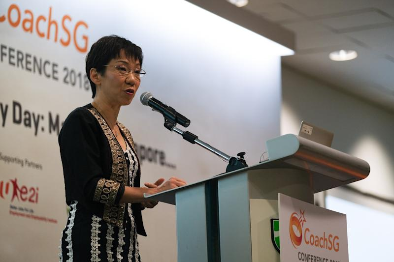 Minister for Culture, Community and Youth Grace Fu announces the formation of the SafeSport Commission next year to help the sports community combat sexual misconduct. (PHOTO: Sport Singapore)