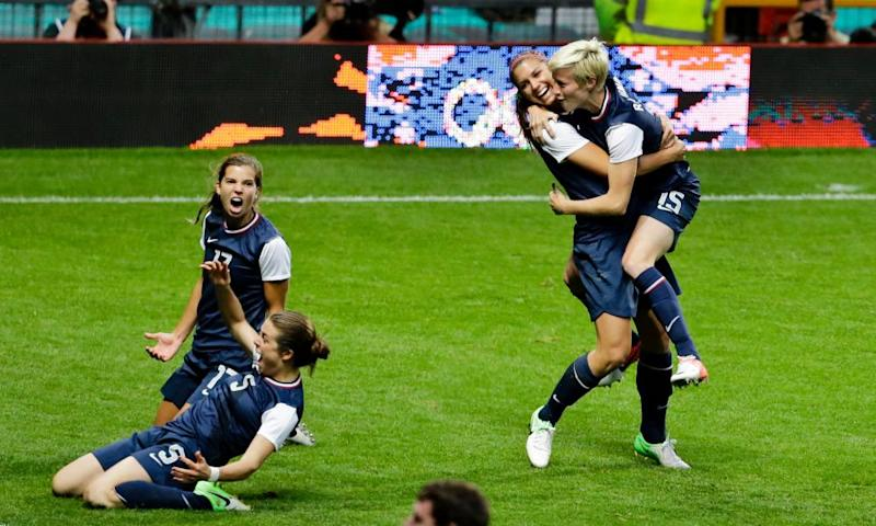 Tobin Heath joins Kelley O'Hara, Alex Morgan and Megan Rapinoe in celebrating the USA's win over Canada in the 2012 Olympic semi-final at Old Trafford.