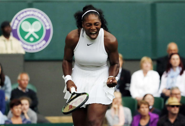 <p>Serena Williams of the U.S celebrates a point against Christina McHale of the U.S during their women's singles match on day five of the Wimbledon Tennis Championships in London, Friday, July 1, 2016. (AP Photo/Ben Curtis) </p>