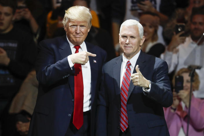 FILE - President-elect Donald Trump, left, and Vice President-elect Mike Pence acknowledge the crowd during the first stop of his post-election tour, in Cincinnati on Dec. 1, 2016. A new CNN Films documentary explores the role of the U.S. vice presidency, which in modern times has emerged into a more powerful position. Still, the film notes that a veep's duties are all up to the president. (AP Photo/John Minchillo, File)
