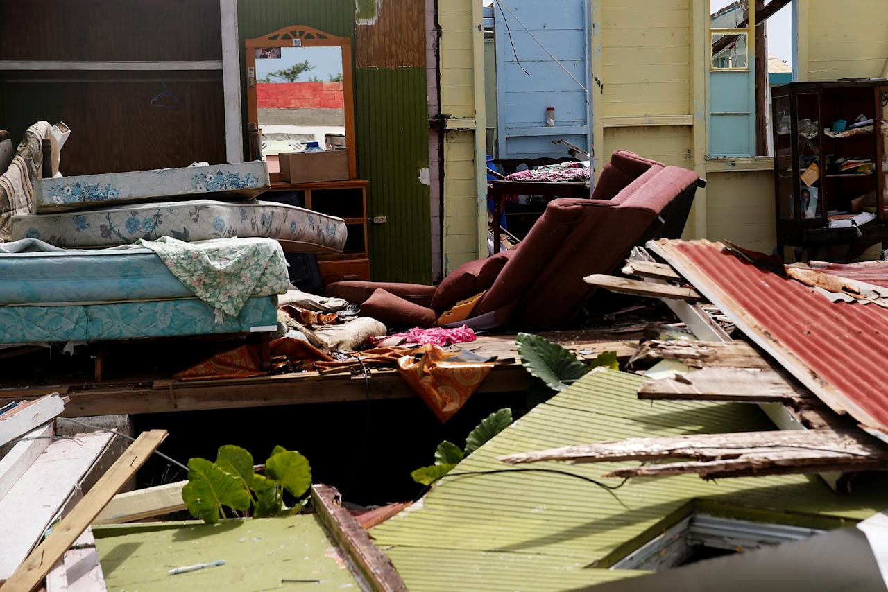 <p>A home sits in ruins at Codrington on the island of Barbuda just after a month after Hurricane Irma struck the Caribbean islands of Antigua and Barbuda, October 7, 2017. REUTERS/Shannon Stapleton </p>