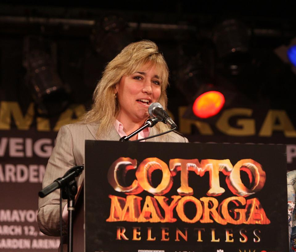 Boxer Christy Martin  attends the Bob Arum and Don King press conference to announce Miguel Cotto vs. Ricardo Mayorga at B.B. King Blues Club & Grill on January 19, 2011 in New York City. (Photo by Bennett Raglin/WireImage)
