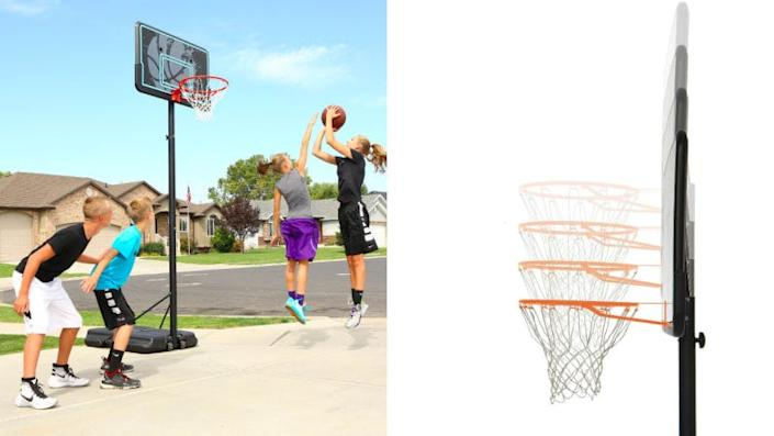 You can adjust the height of this hoop to accommodate players of all ages.