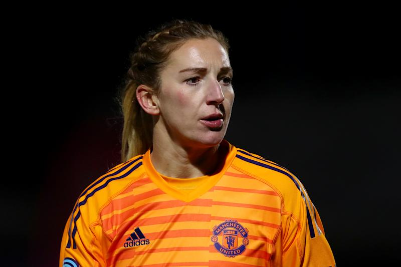 BOREHAMWOOD, ENGLAND - FEBRUARY 07: Siobhan Chamberlain of Manchester United looks on during the FA WSL Cup match between Arsenal Women and Manchester United Women at Meadow Park on February 07, 2019 in Borehamwood, England. (Photo by Naomi Baker/Getty Images)